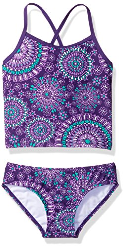 Kanu Surf Girls' Toddler Beach Sport 2-Pc Banded Tankini Swimsuit, Melanie Purple, 3T