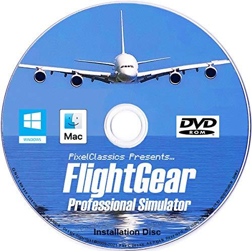 FlightGear Flight Simulator 2020 X Flight Sim Plane & Helicopter Including 600+ Aircraft DVD CD Disc For Microsoft Windows 10 8 7 Vista PC & Mac OS X