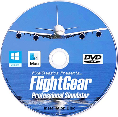 FlightGear Flight Simulator 2020 X Flight Sim Plane & Helicopter Including 600+ Aircraft DVD CD Disc For Microsoft Windows 10 8 7 Vista PC & Mac OS X