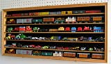 HO, N Scale Trains, 1:64 Scale Wheels, Toy Cars, Minifigures Display Case Rack Wall Cabinet Wall Shadow Box w/ UV Protection- Lockable HOT-HW05 (Oak Finish)
