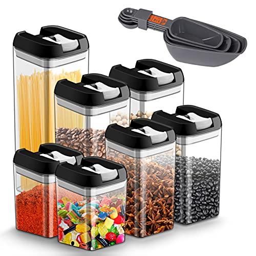 Vorratsdosen Frischhaltedosen für Lebensmittel 7 teilige Set, Vorratsbehälter mit luftdichtem Deckel Frischhaltedosen aus langlebigem Kunststoff, BPA-frei