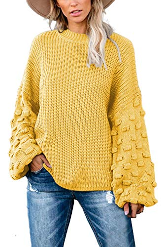 Sovoyontee Women's Yellow Casual Cute Oversized Crewneck Loose Fitting Chunky Knit Pullover Sweater Large