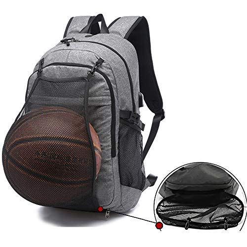 Sports Basketball Backpacks Bags for Laptop, Soccer with Ball Compartment Gray