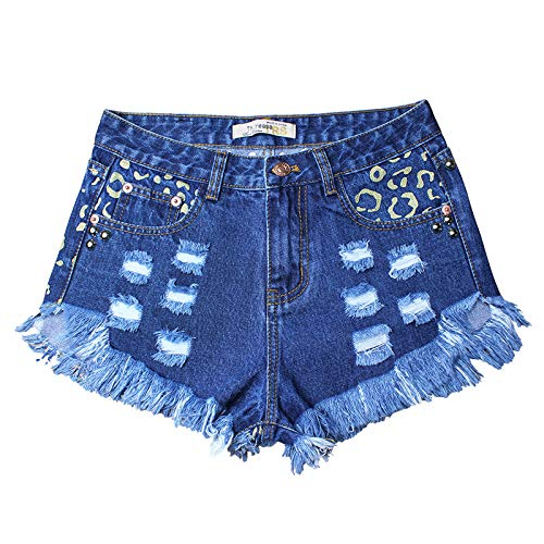 Pantalones Cortos de Mezclilla para Mujer Tendencia elástica Ropa de Calle Que engarza Tallas Grandes Pantalones Cortos de Mezclilla Lavados Moda Flor Bordada S