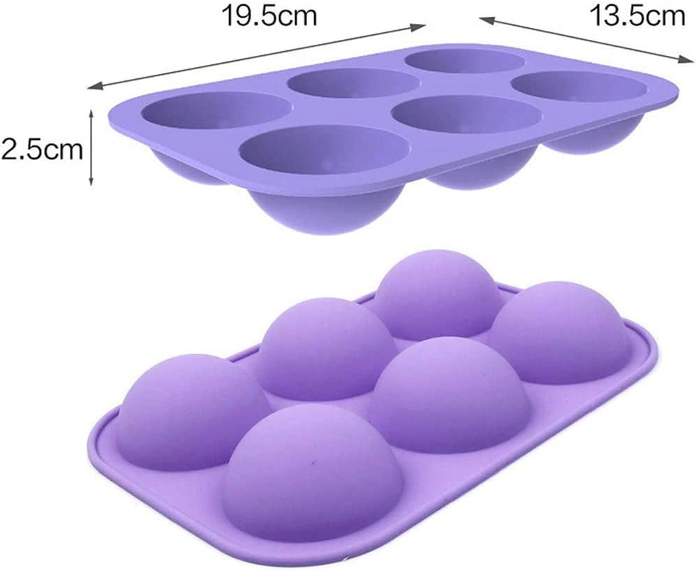 Premium Semi-Ball Silicone Baking Mould 4 Pack NALCY 6 Holes Silicone Mold BPA Free Silicone Mold Hot Chocolate Bomb Half Ball Sphere Cake Moulds