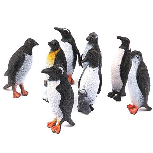 REFURBISHHOUSE 8 pcs de Animal Marino de Modelo de Pinguino de plastico Modelo de Regalo Negro + Blanco