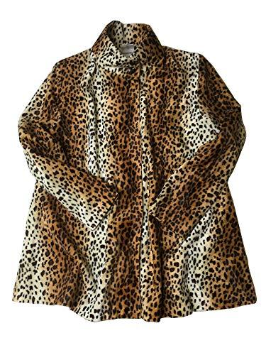 shoperama Damen Leo Kunstfell Kurzmantel A-Linie Jacke Leopard Rockabilly Animal-Print, Größe:34/36