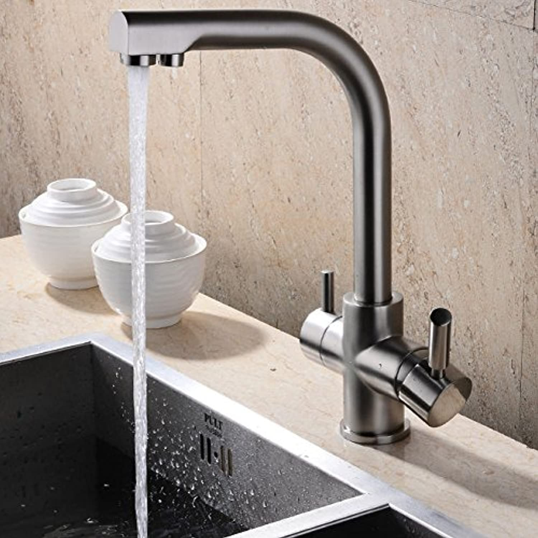 YFF@ILU Einzelne Bohrung Nickel gebürstet Küche Wasserhahn mit gefiltertem Wasser Mixer Füller Tippen