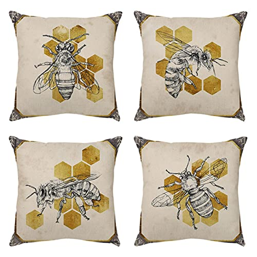 Set di 4 federe per cuscino quadrato 45 x 45 cm, motivo a rombo dorato con ape grigia, per giardino, per esterni, panchina, divano, divano, patio, interni, balcone, 45,7 x 45,7 cm