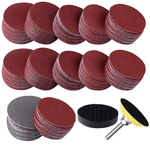 300PCS 2 Inches Sanding Discs Pad Kits, Sandpaper Hook and Loop Disc Pad with Sponge Cushion & 1/4