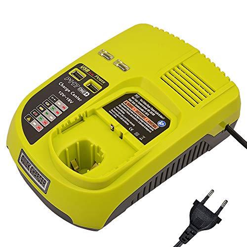 12~18V Cargador de repuesto de iones de litio y Ni-Mh/Ni-Cd 3A para Ryobi ONE + P104 P105 P102 P103 P107 P108 Batería recargable (Compatible con 260051002 P117 P118 P113 P113 BCL1418)