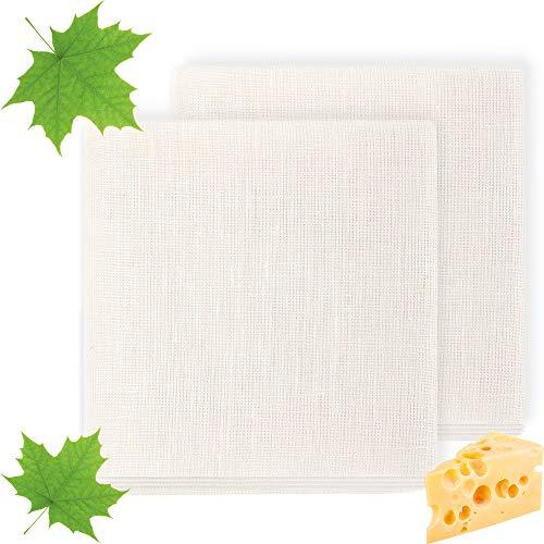 ecooe Passiertuch 100% Leinen 50 * 50cm Reißfeste Filter Cloth für Nussmilch Käseherstellung Saft und Suppe (2 Stück)