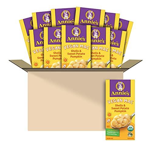 Annie's Organic Vegan Shells & Creamy Sauce Macaroni & Cheese, Non- Dairy, 6 oz (Pack of 12)