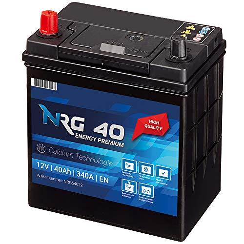 NRG Premium Autobatterie 40Ah 12V 340A/EN ASIA Japan Plus Pol Links 30{9b0820b768a2f7c88be6d111cb10f539f30c4c25c8582e71b872156511bbceec} mehr Startleistung ersetzt 35AH 38AH 42AH