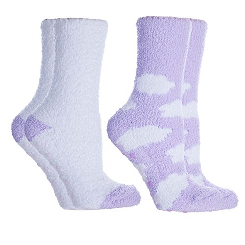 MinxNY Women's Lavender Infused Slipper Socks, 2-Pair Pack with Lavender Sachet,'Clouds', Aromasoles