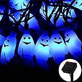 Halloween Ghost String Lights, ZALALOVA 21.3ft 30 LEDs Ghost Lights Decor Waterproof Solar Powered 8 Modes String Lights for Halloween Horror Nights Decorations Indoor Outdoor Garden Lawn Home Party
