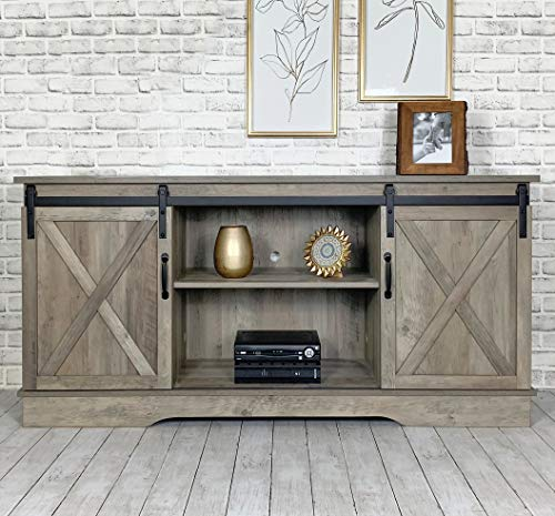 Rainbow Sophia Farmhouse Sliding Barn Door TV Stand for TVs up to 65', Home Living Room Entertainment Center, Wood Storage Cabinet with Doors and Shelves, Washed Oak