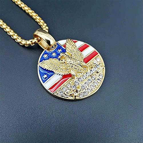 JIEZ Colgante con Etiqueta de Bandera Americana Hiphop, Cadena de Acero Inoxidable para Hombre Militar, Collar Redondo de Color Dorado, joyería Dorada, 55 cm