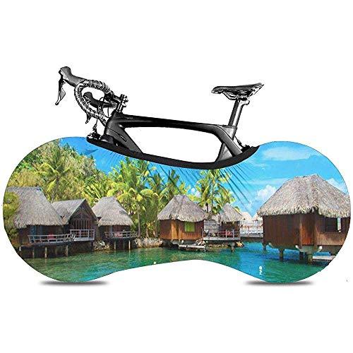 L.BAN Couvre-Roue de vélo Sweet-Heart, protège la Couverture de vélo de Pneu de Vitesse - Blue Beach of Bo-ra Scenic View Tahiti Bungalow Borabora