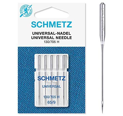 SCHMETZ Nähmaschinennadeln: 5 Universal-Nadeln, Nadeldicke 65/9, 130/705 H, auf jeder gängigen Haushaltsnähmaschine einsetzbar