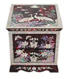 Nacre Inlay Mother of Pearl Wooden Jewelry Mirror Storage Chest 2 Drawer Box Crane Design Keepsake Treasure Gift Trinket Case Organizer (Red)