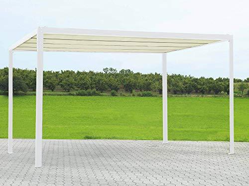 Pergola da Giardino 3x3m in Alluminio Telo Retrattile Elettrico Bianco