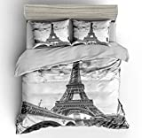 SHOMPE Twin Size Bedding Sets Paris Memory Eiffel Tower,3 Piece Duvet Cover Sets with Pillow Shams for Teens Boys Girls,NO Comforter