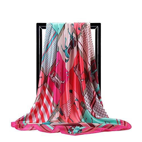 WEJNNI imitatie zijden sjaal 90 cm grote vierkante mode geometrische gestreepte paard afdrukken vrouwelijke sjaal