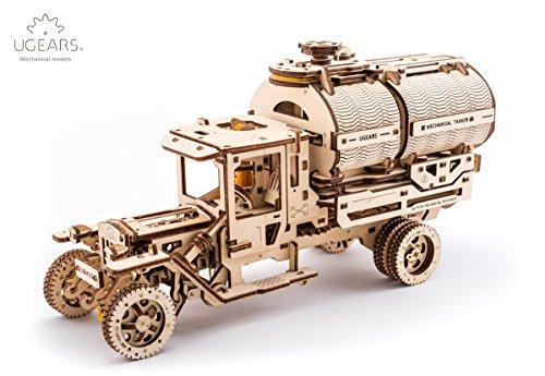 UGEARS LKW mit einem Tanker, mechanisches Holzmodell 3D-Puzzle Montageset