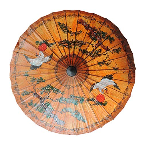 Garneck Rainproof Handmade Chinese Oiled Paper Umbrella Parasol with Bamboo Handle (Crane Patterns)