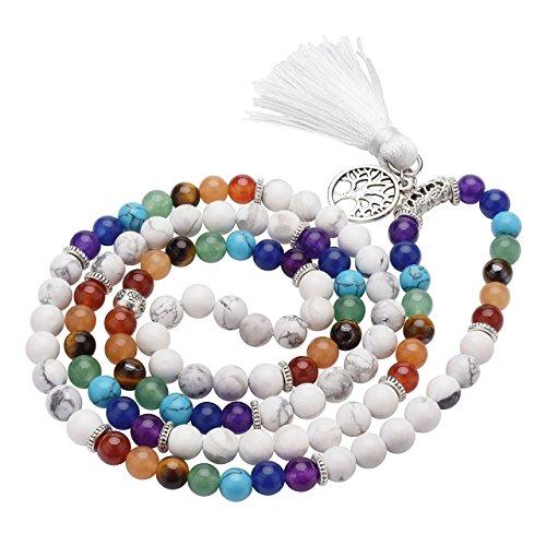 Top Plaza 7 Chakra Buddhist Mala Prayer Beads 108 Meditation Healing Multilayer Bracelet/Necklace W/Tree of Life Tassel Charm(Synthetic White Turquoise)