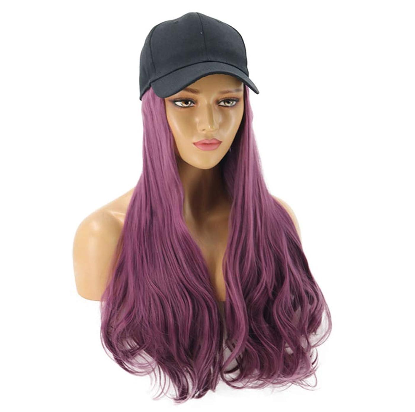 同情的同時北女性の野球帽、ヘアエクステンション付き毎日のパーティー用の長い波状のワンピースヘアエクステンション付きの黒い帽子が付いた自然な人工毛