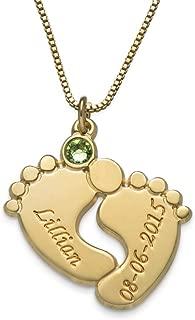 MyNameNecklace Engraved Baby Feet Pendant Necklace Swarovski Crystals - Custom Made Jewelry