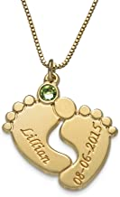 MyNameNecklace Engraved Baby Feet Pendant Necklace Swarovski Crystals - Custom Made Jewelry