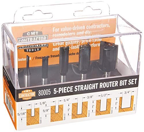 CMT 80005 5Piece Straight Router Bit Set 1/4