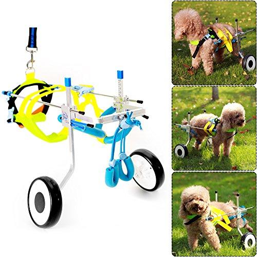 ExGizmo Verstellbare Hundeleine Rollstuhl, Hind Bein Rehabilitation für Behinderte Kleine Hunde/Hund/Welpen 2Rollen XXS-Weight:4-11lbs,Hip Height:6.2
