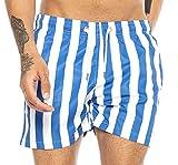 Redbridge Costume da Bagno da Uomo a Rapida Asciugatura Design Vertical Stripes Blu-Bianco XL