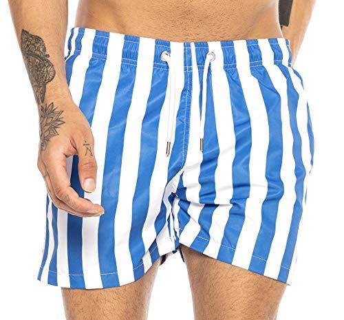 Bañador Corto con Rayas Verticales y Secado rápido para Hombre Vertical Stripes Azul-Blanco XXL