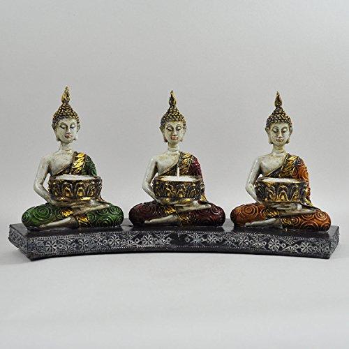 Three Buddhas Sitting Tea Light Kandelaar Goud Groen Rood Oranje Siritueel Buiten H15cm