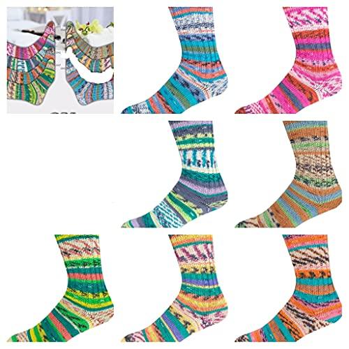 Sparpaket Sockenpaket 6 x 100 g, Wellness Color, mit Seide,4-fädig, 35% Wolle (superwash), 30% Viskose, 25% Polyamid, 10% Seide