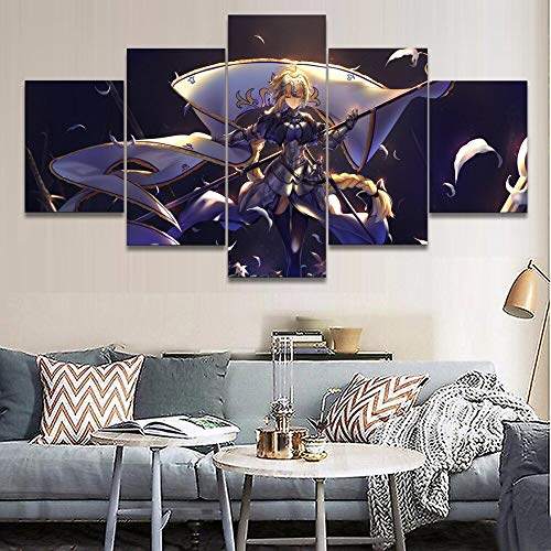 Baobaoshop Lienzo ImpresióN En HD Pintura DecoracióN del Hogar Sala De Estar 5 Piezas Anime Destiny Gran Orden Regla PóSter Cuadro Modular Sin Marco-30x40 30x60 30x80cm