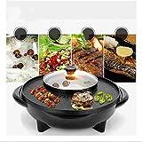 Pentola Calda E Pentola Barbecue Hot Pot Barbecue Doppia Pentola,Fornello Integrato, Pentola Elettrica Calda Elettrica Barbecue Teglia Adatto per 3-5 Persone,1700W,Nero