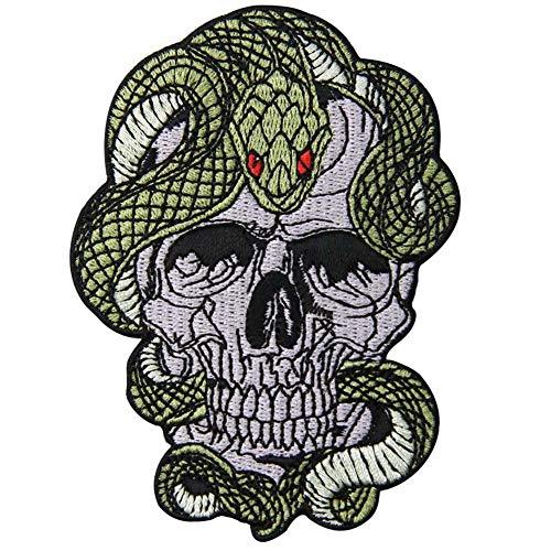 Parche termoadhesivo para la ropa, diseño de Serpiente y calavera