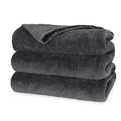 Sunbeam Heated Blanket | Microplush, 10 Heat Settings, Slate, Full - BSM9KFS-R825-16A00