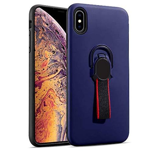 Coque iPhone Xs max Silicone Ultra Mince Solide TPU Coquille Transparente avec Plaque Support de téléphone de Voiture magnétique (bleu)