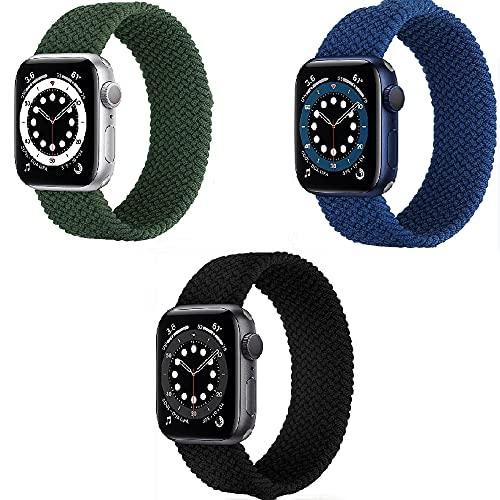 WWANG 3 Bandas de Paquete compatibles con la Banda de Reloj de Apple 38mm 40mm 42mm 44mm,Black/Blue/Green,38mm/40mm L