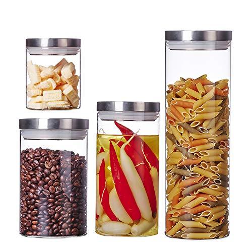 ZHHAOXINST Küche Vorratsdosen, Behälter Vorratsdose mit Deckel Vakuum Stapelbar Frischhaltedosen Aufbewahrungsdose, Luftdicht, Unterschiedliche Größen BPA Frei, Transparent