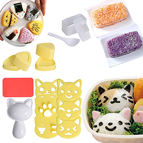 3 Style Onigiri Mold Cute Cat Rice Ball Molds, Triangle Rice Mold and...
