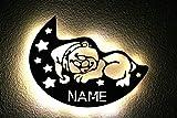 LED Deko Schlummerlicht Nachtlicht Teddy Bär liegend schlafen Mütze Sterne Halbmond Mond, personalisiert mit Wunsch Namen Lasergravur Abendlicht Kinderzimmer Wohnzimmer Geschenk