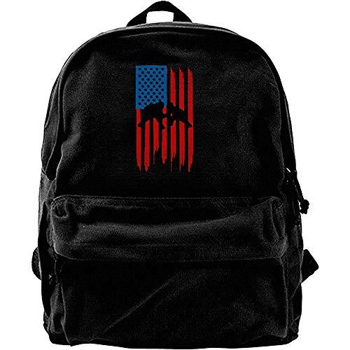 Oxford Backpack,Computer Rucksäcke,Notizbuch Reiserucksack,Schulrucksack,Laptop Rucksack,Wrestling American Flag Notebook Laptoptasche,Lässiger Schulterrucksack